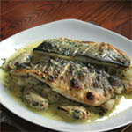 grilled sea bass with crab and potato salad - recipe issue 7