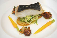 halibut with courgettes and girolle mushrooms recipe